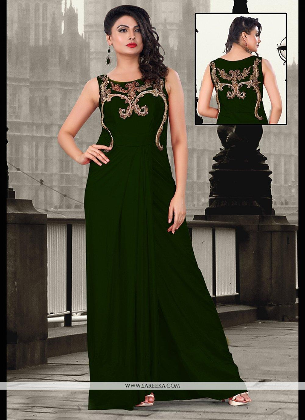Lustrous Lycra Green Floor Length Gown