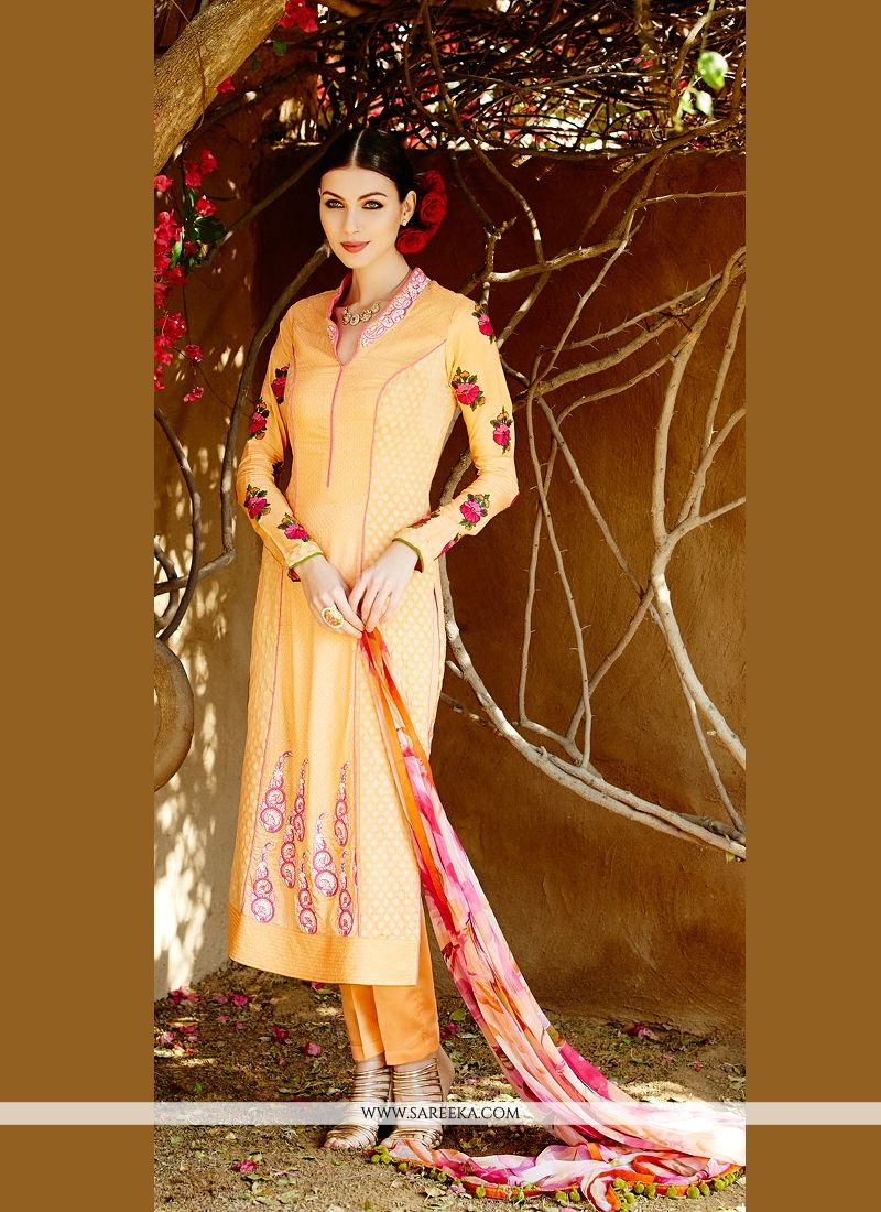 Lustrous Peach Cotton Satin Pant Style Suit