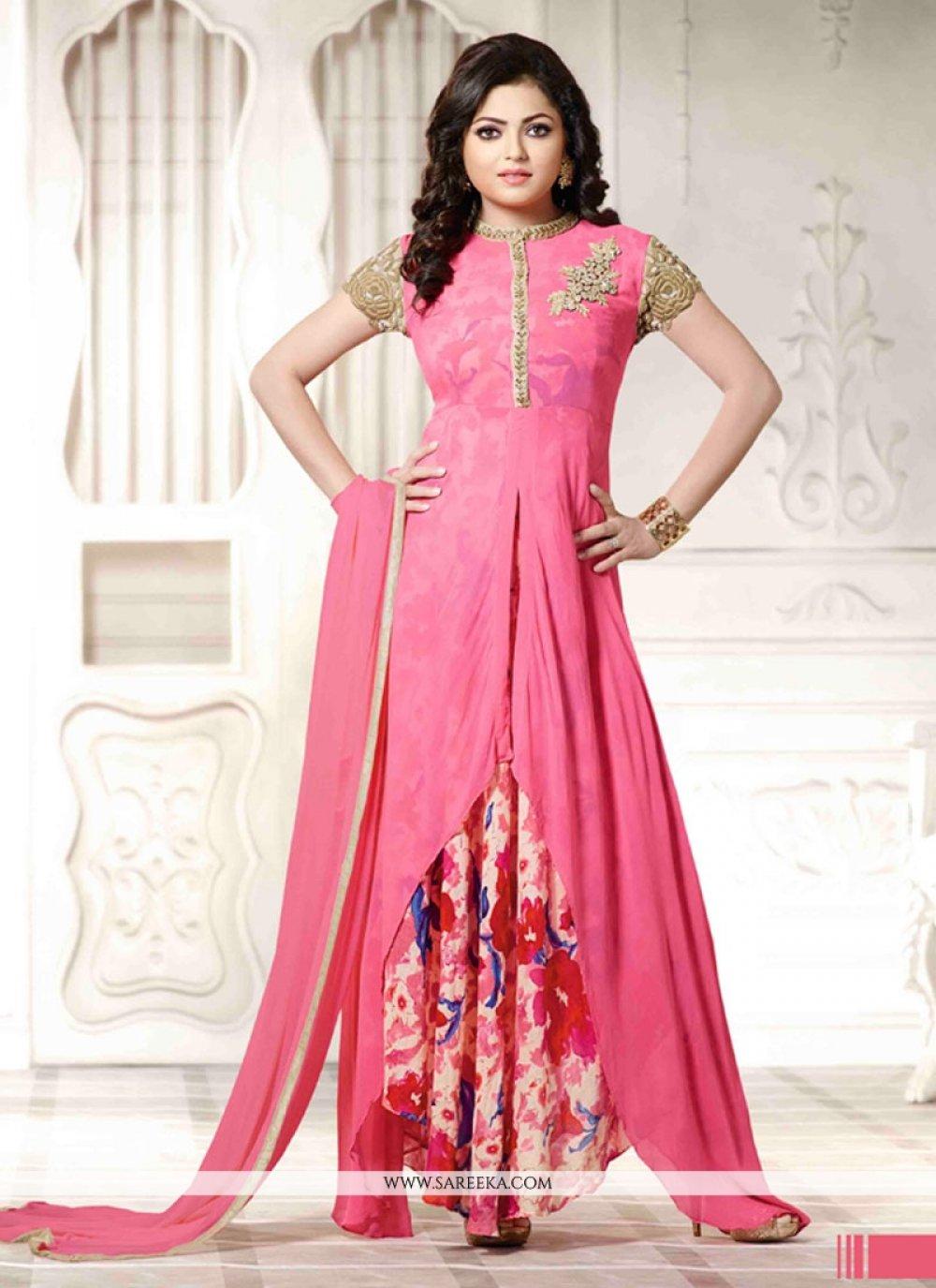 Lustrous Pink Anarkali Salwar Kameez