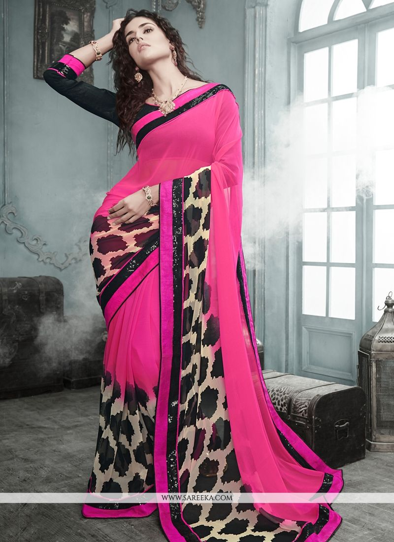 Lustrous Pink Georgette Casual Saree