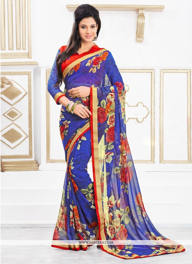 Lustrous Print Work Georgette Casual Saree