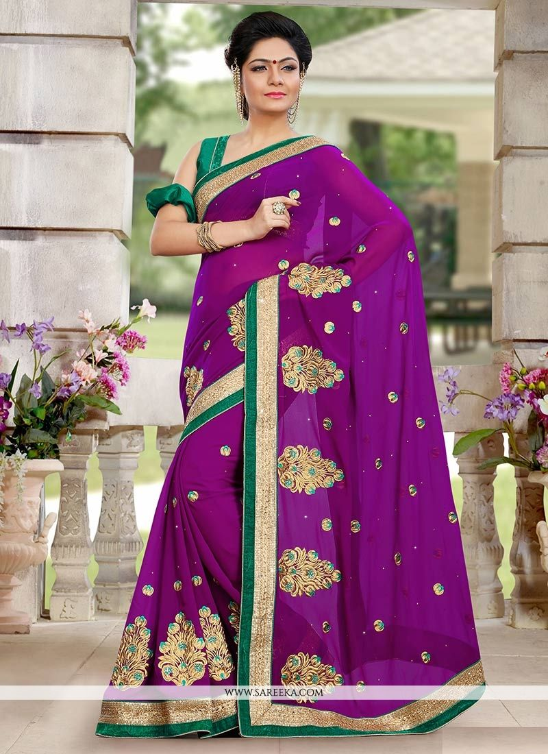 Lustrous Purple Georgette Saree