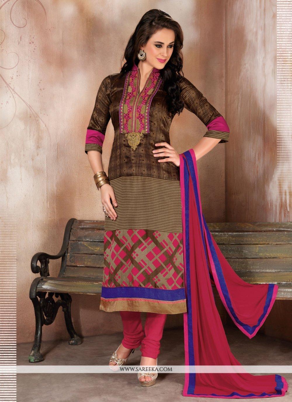 Lustrous Raw Silk Churidar Designer Suit