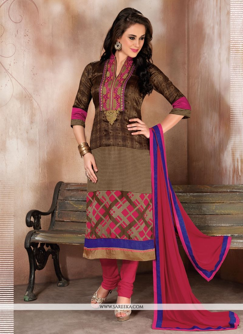 Raw Silk Churidar Designer Suit
