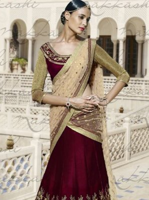 Lustrous Velvet Patch Border Work A Line Lehenga Choli