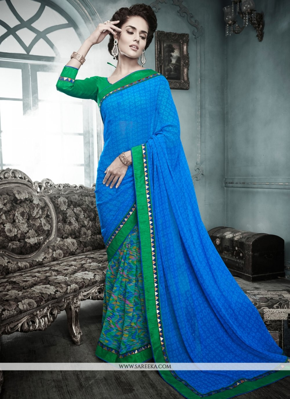 Luxurious Blue Georgette Casual Saree
