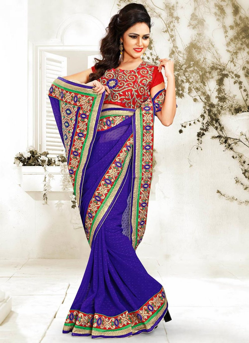 Luxurious Blue Jacquard Saree