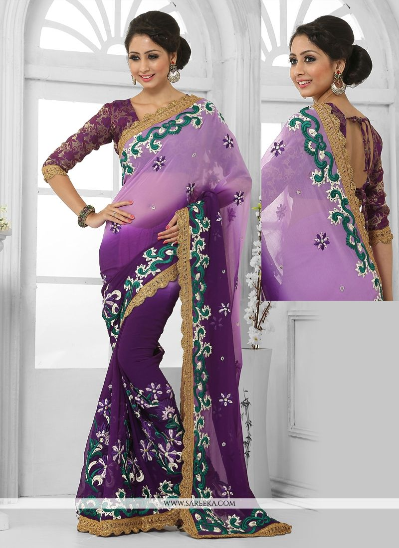 Luxurious Faux Chiffon Embroidered Work Designer Saree