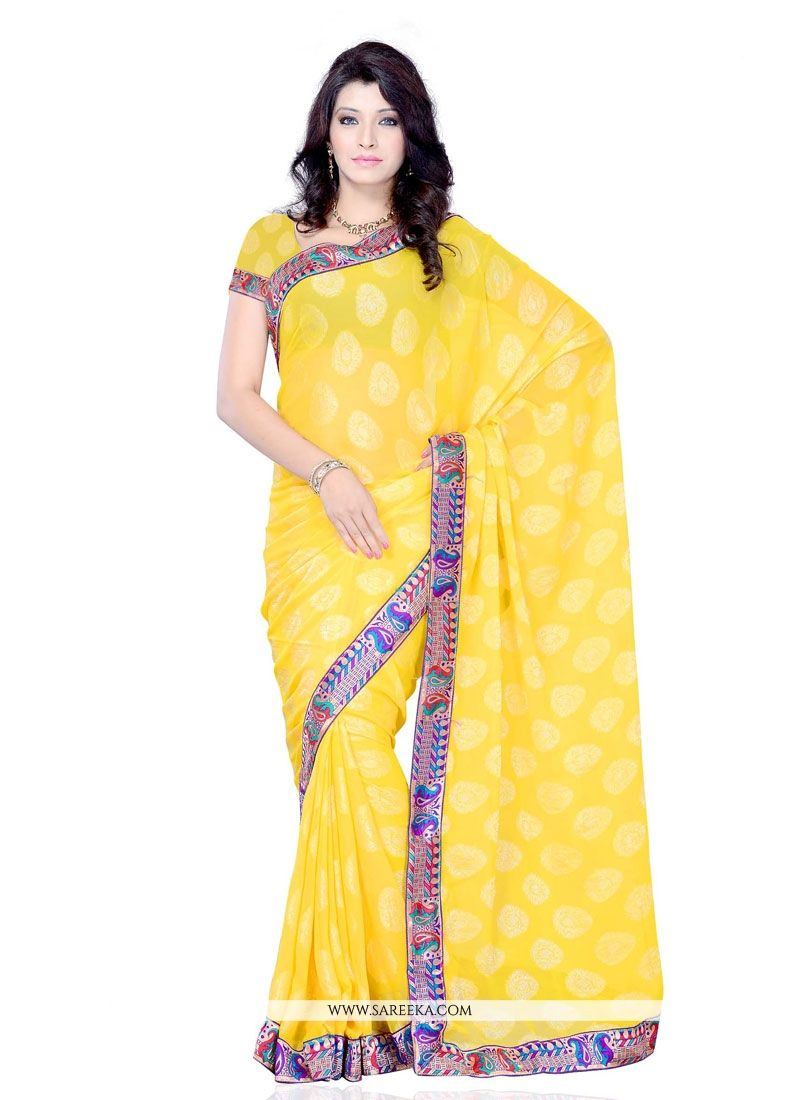 Luxurious Jacquard Patch Border Work Designer Saree