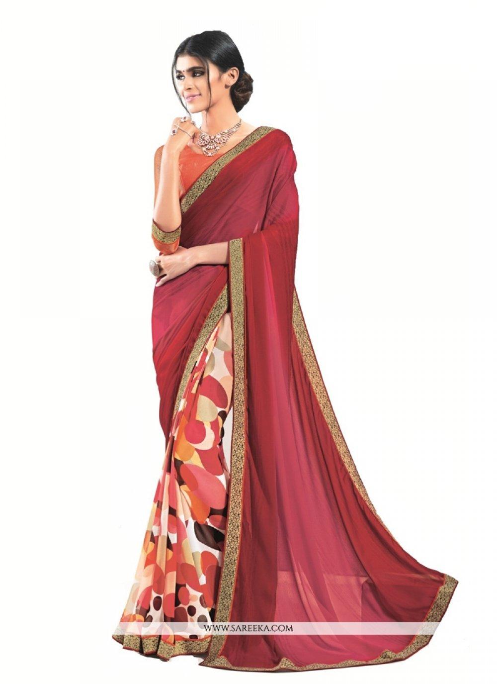 Luxurious Patch Border Work Designer Saree