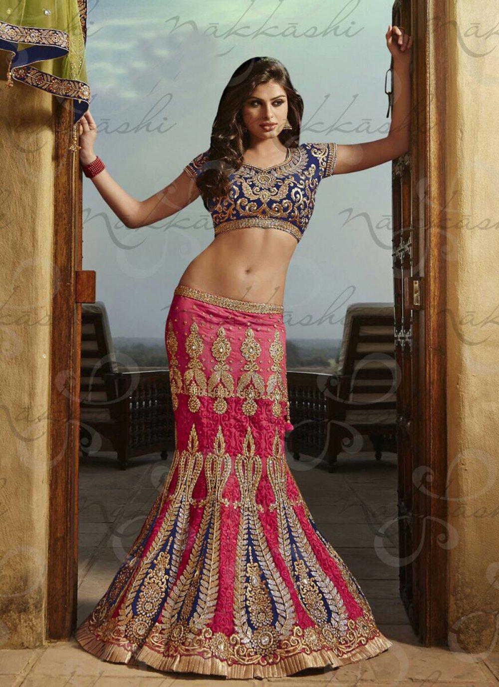 Luxurious Pink Stone Work Satin Lehenga Choli
