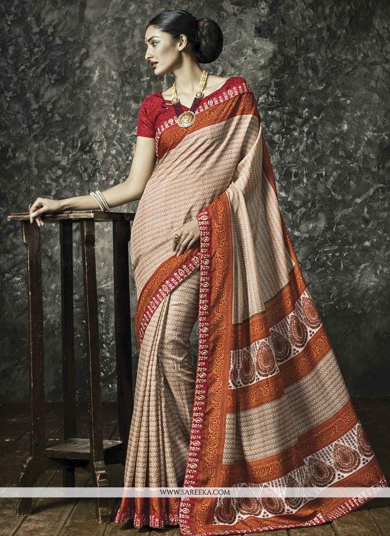 Luxurious Resham Work Beige Manipuri Silk Casual Saree