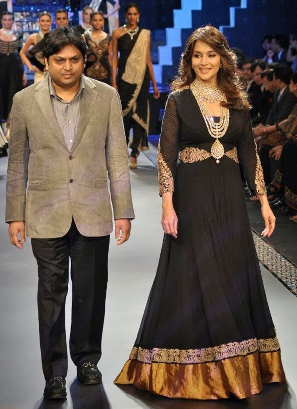 Madhuri Dixit Black Faux Georgette Bollywood Suit