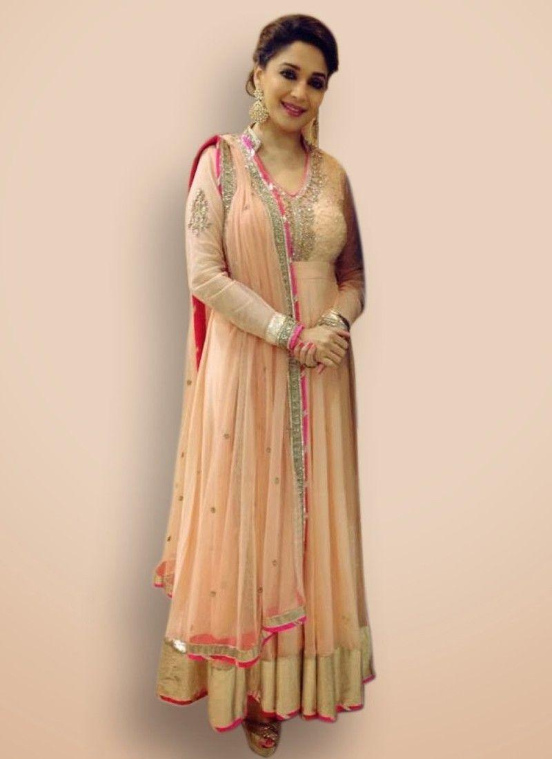 e62f4dcce6 Madhuri Dixit Peach Stone Work Bollywood Salwar Kameez -