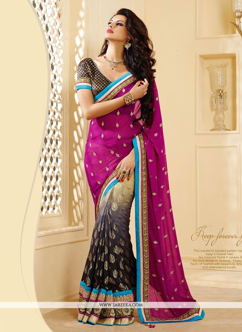 Magenta And Black Shaded Georgette Saree