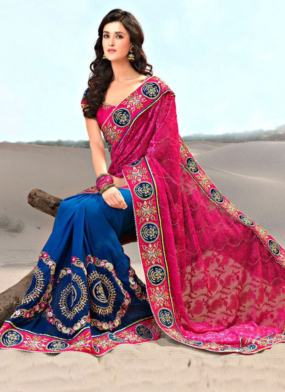 Magenta and Blue Georgette and Jacquard Saree