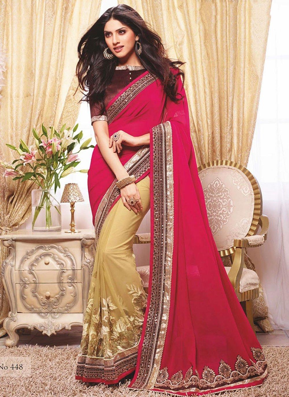 Red And Cream Zari Work Wedding Saree