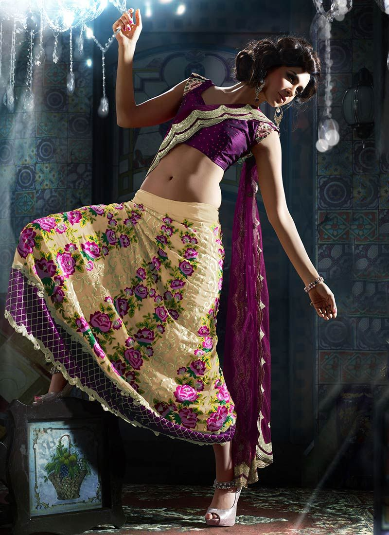 Magenta And Pale Yellow Georgette Lehenga Saree