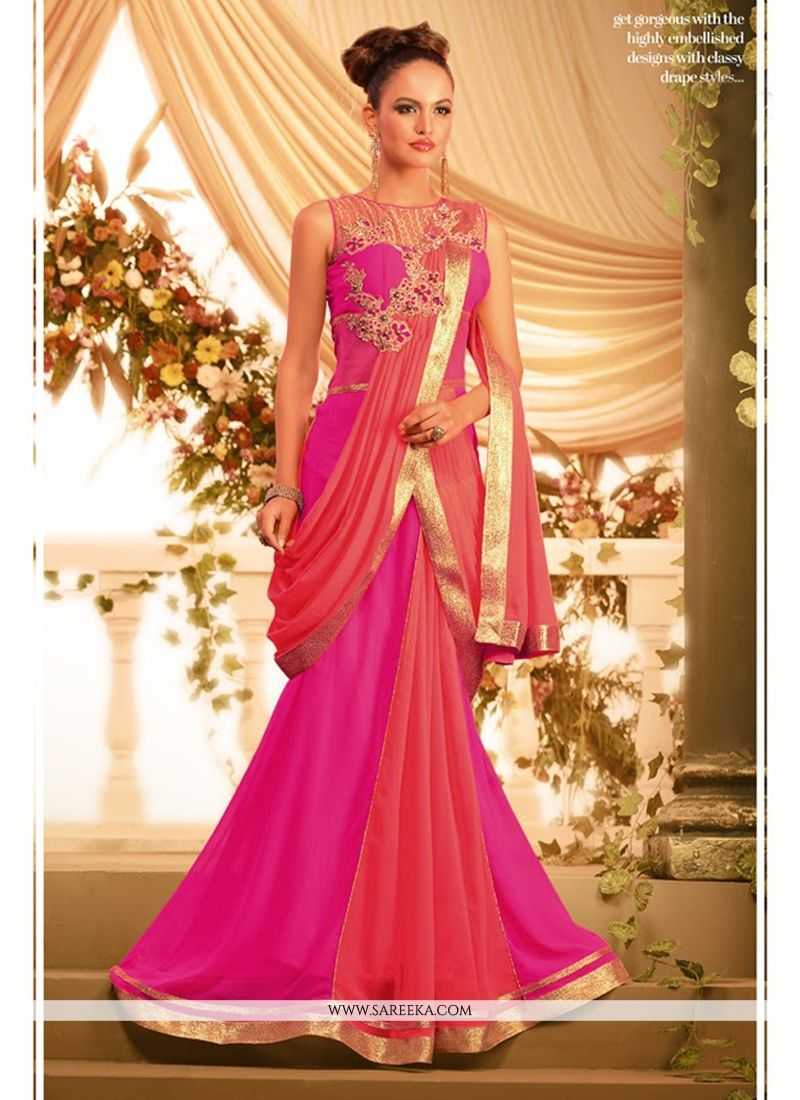 Magenta And Peach Georgette Designer Gown