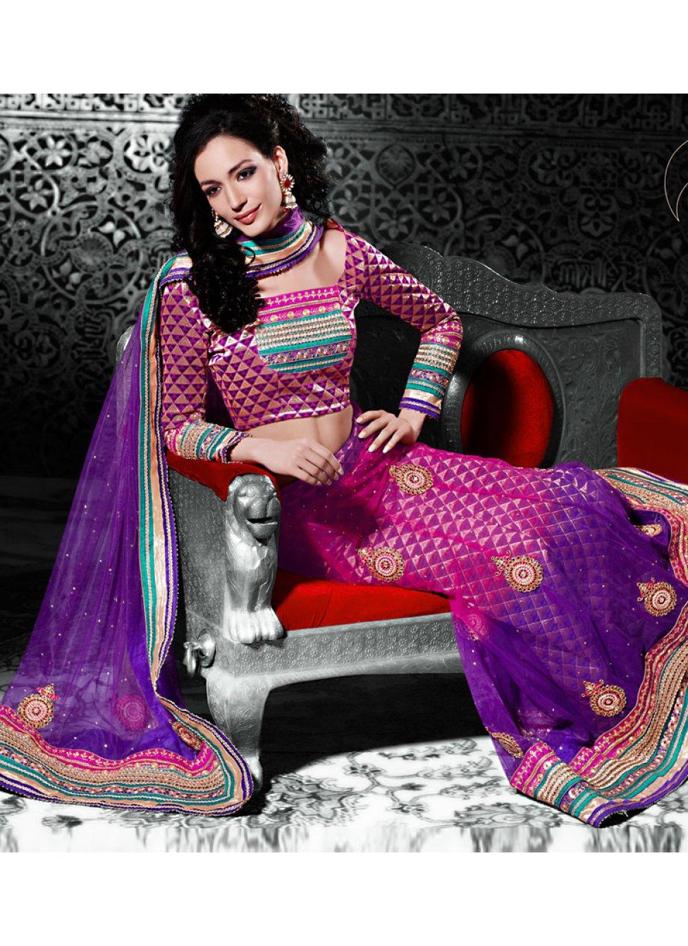 Magenta And Purple Net A Line Lehenga Choli