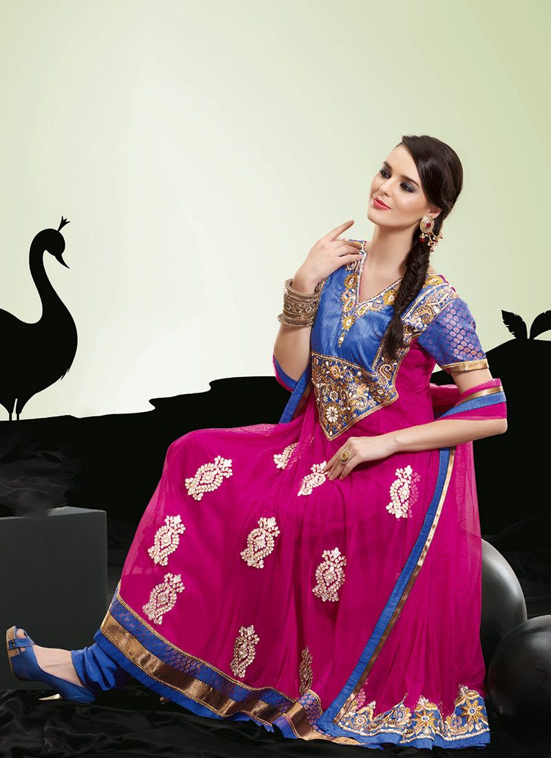 Magenta and Royal Blue Net Churidar Suit