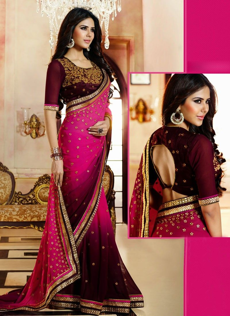 Magenta And Wine Shaded Georgette Saree