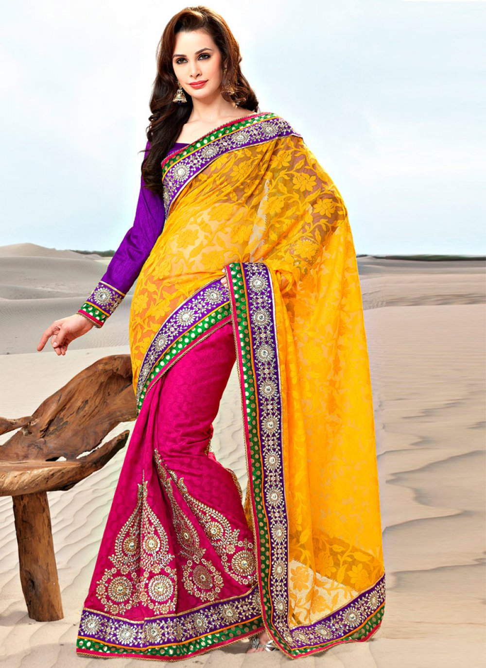 Magenta and Yellow Faux Georgette and Jacquard Saree