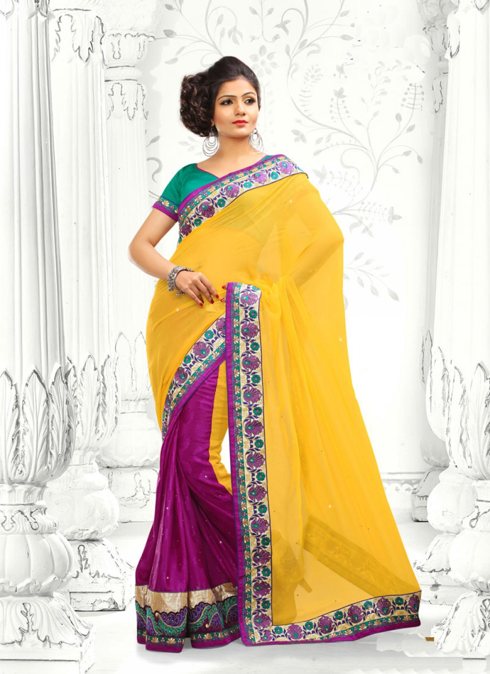 Magenta And Yellow Georgette Half And Half Saree