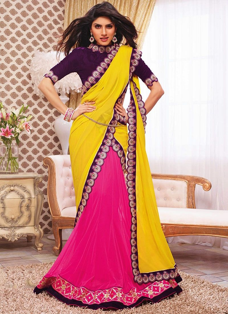 Magenta And Yellow Georgette Lehenga Saree