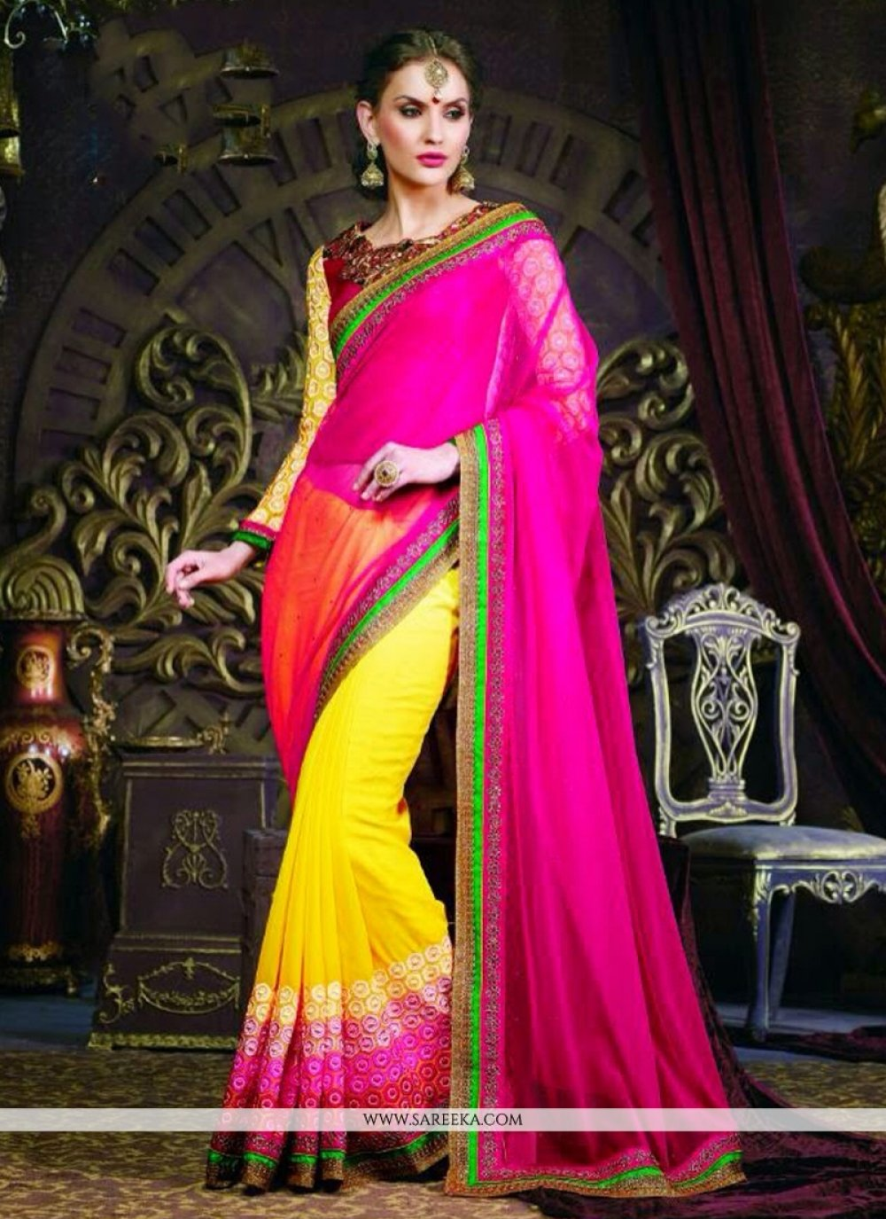 Magenta And Yellow Pure Georgette Saree
