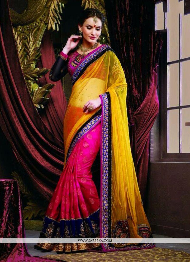 Magenta And Yellow Soft Net Half And Half Saree