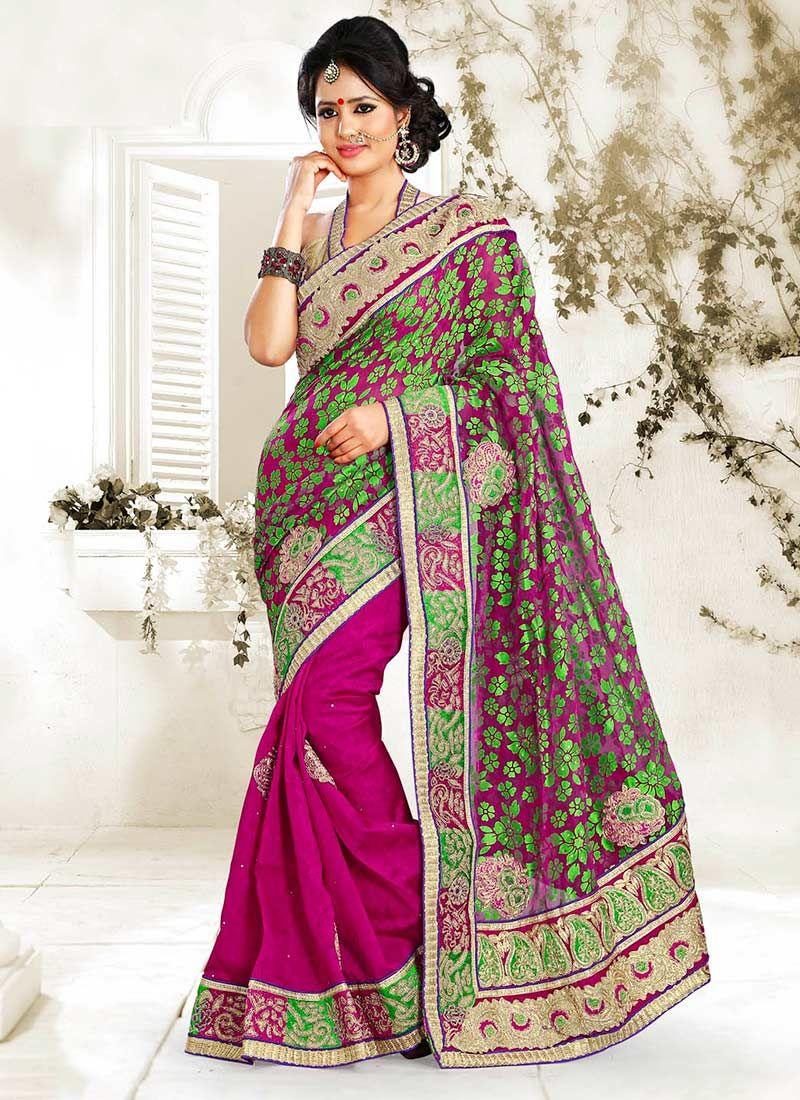 Magenta Bhagalpuri Silk Half And Half Saree