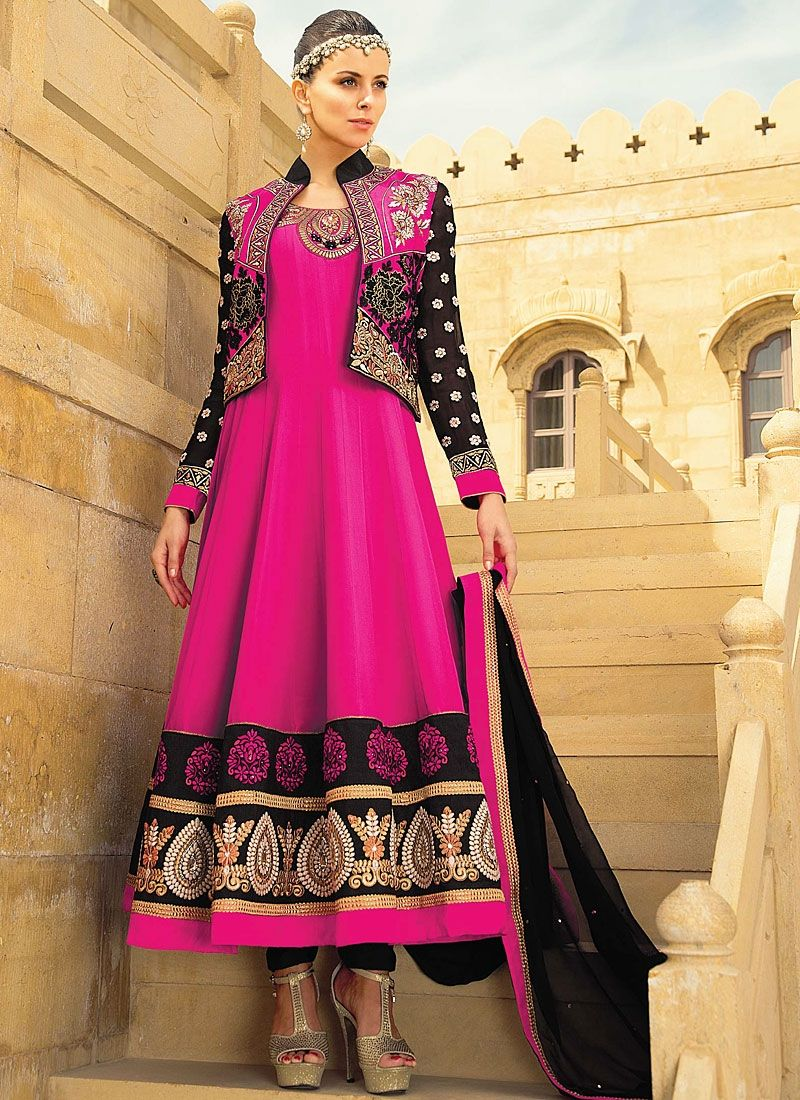 Magenta Embroidery Georgette Anarkali Suit