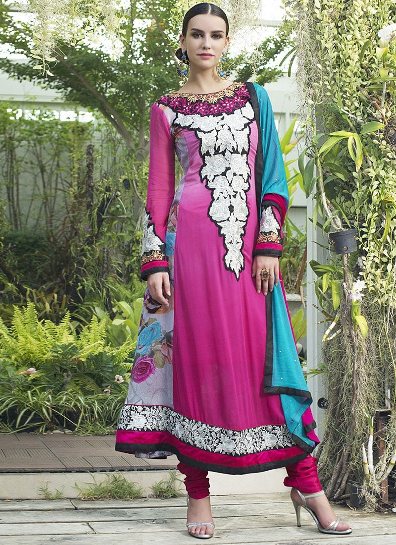 Magenta Patch Border Work Faux Georgette Anarkali Suit