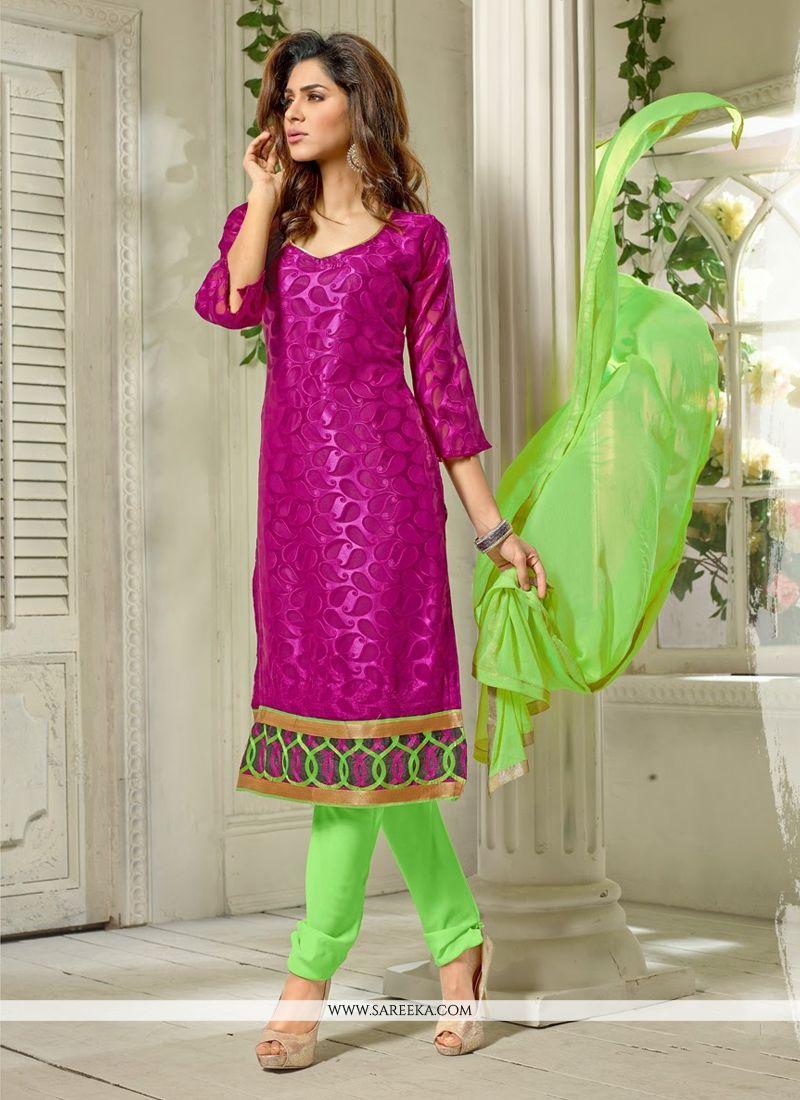 Magenta Pure Jacquard Churidar Salwar Suit