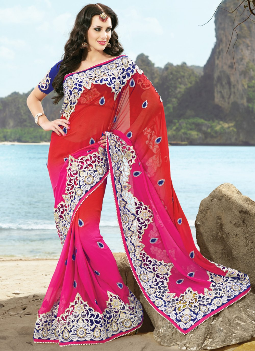 Magenta Red Shaded Faux Georgette Saree