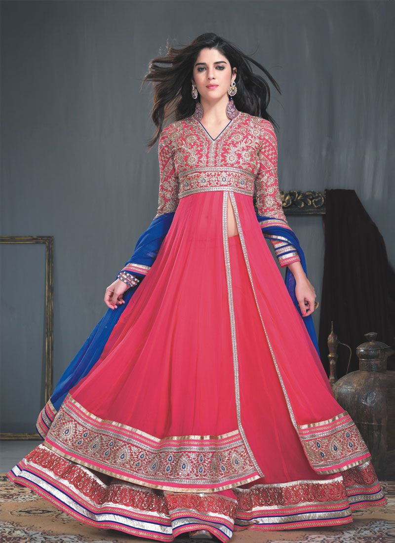 Magenta Resham Border Work Anarkali Salwar Suit