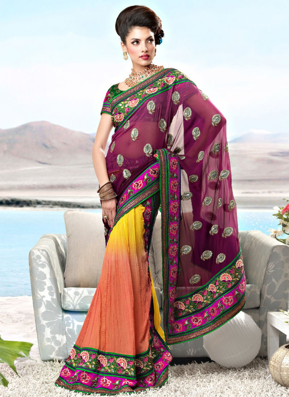 Magenta, Yellow and Peach Faux Georgette Lehenga Style Saree