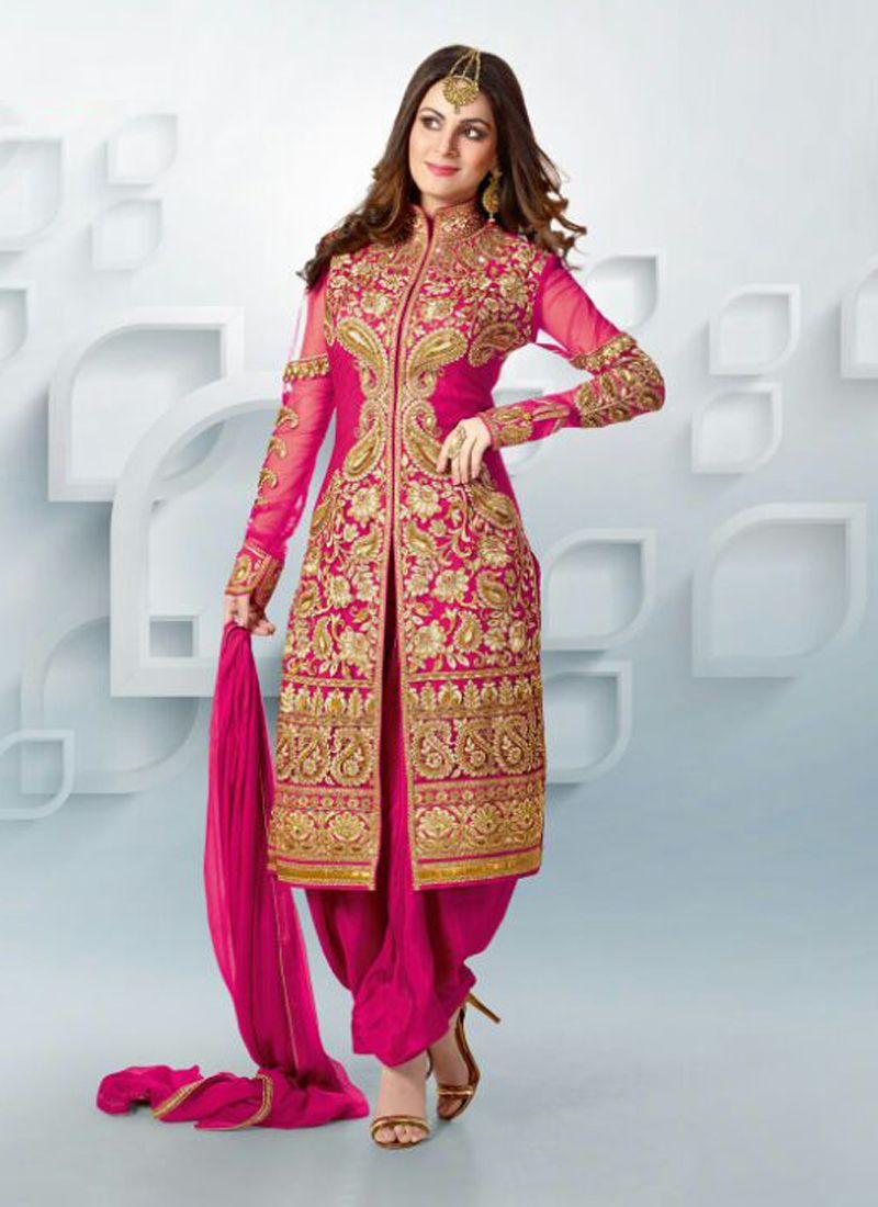 Magenta Zari Georgette Punjabi Suit - Anarkali Suits