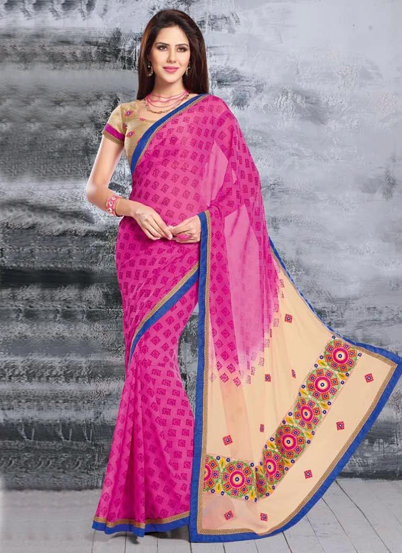 Magical Pink Faux Chiffon Saree
