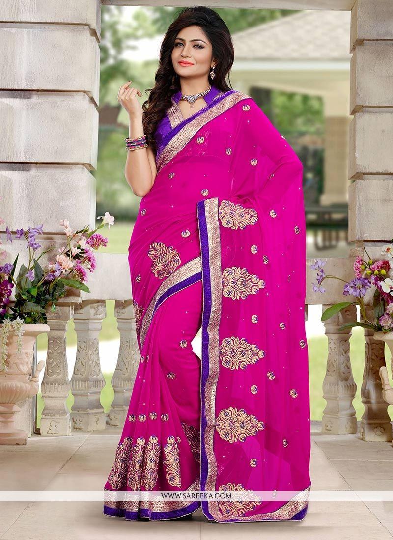 Magical Pink Georgette Designer Saree