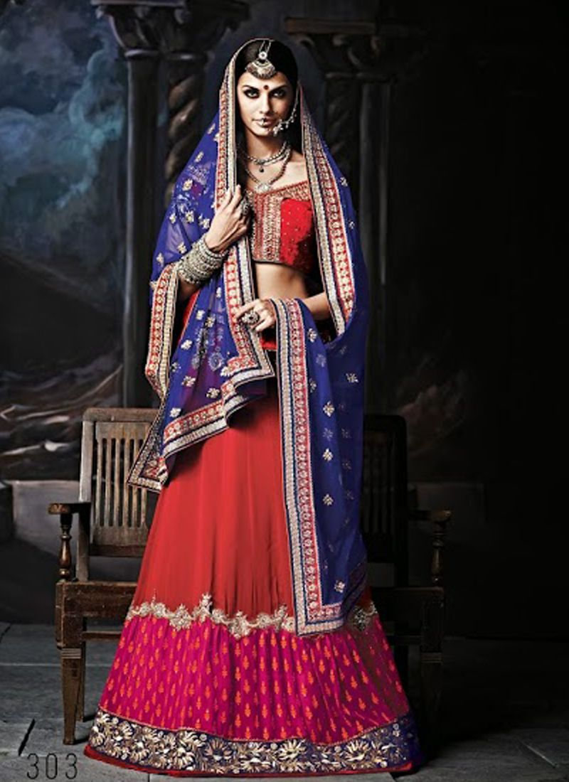 Magical Stone & Resham Embroidery Work Red & Magenta Georgette ...