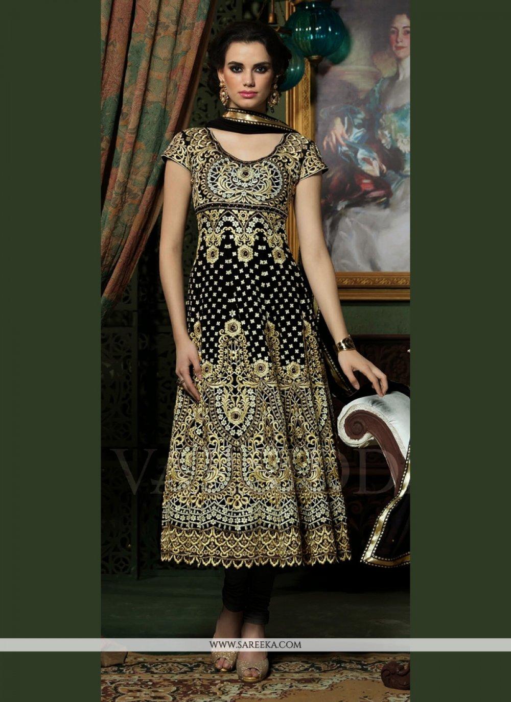 Black Embroidery Work Anarkali Suit