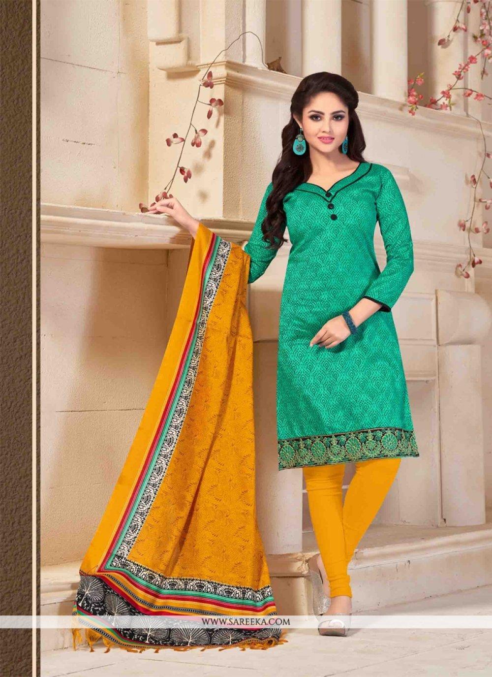 Green Print Work Churidar Salwar Suit