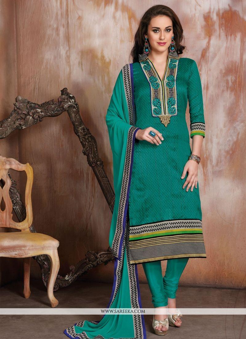 Green Raw Silk Churidar Designer Suit