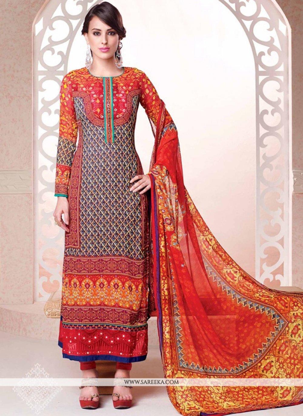 Multi Colour Resham Work Georgette Churidar Salwar Kameez