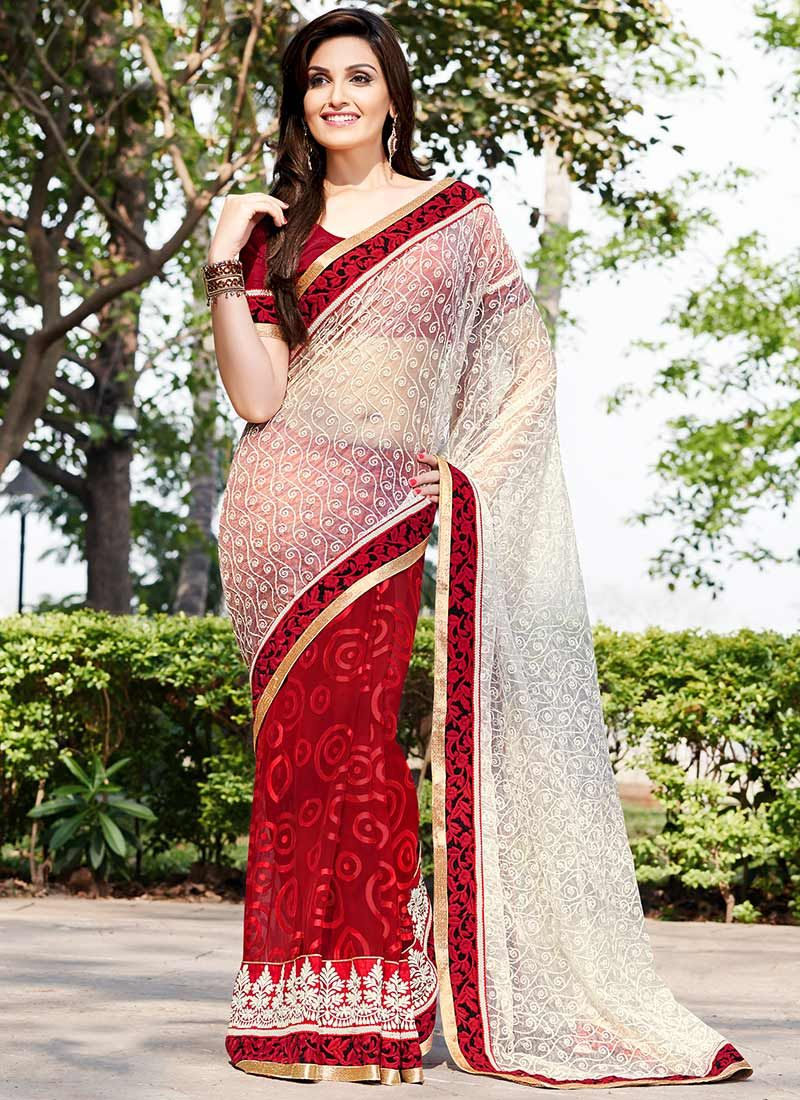 Off White And Red Resham Work Brasso Georgette Saree