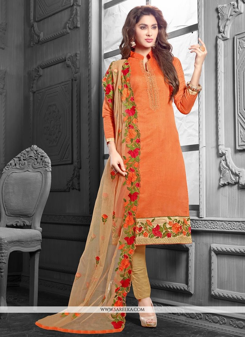 9c72ebae3b Orange Lace Work Chanderi Cotton Churidar Salwar Suit -