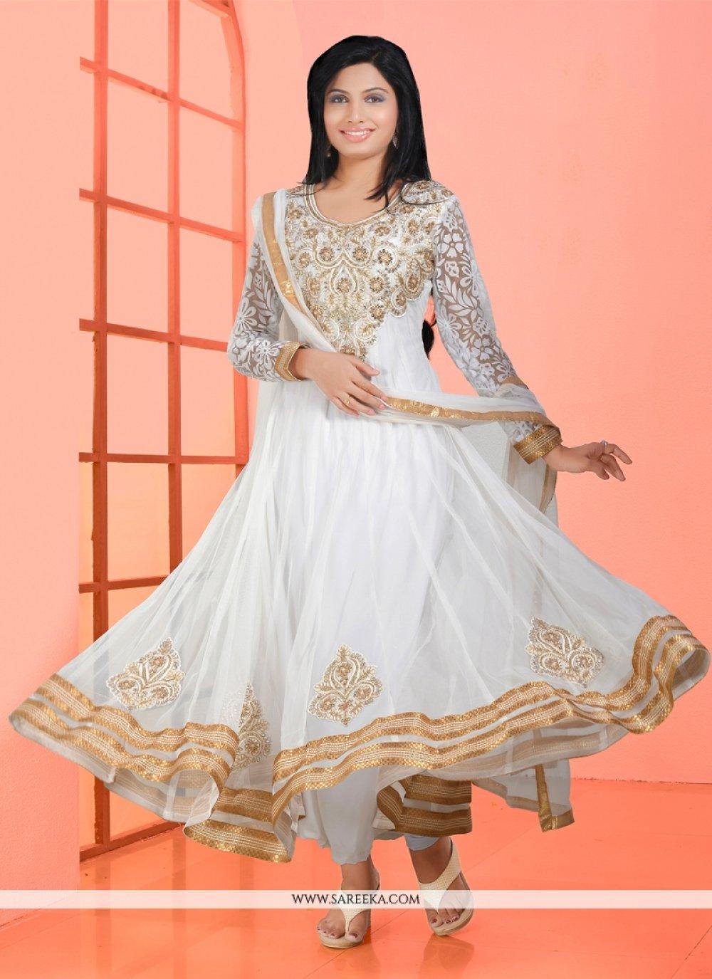 White Net Anarkali Suit