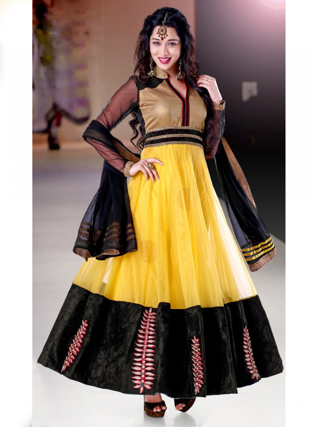 Yellow And Black Net Anarkali Suit